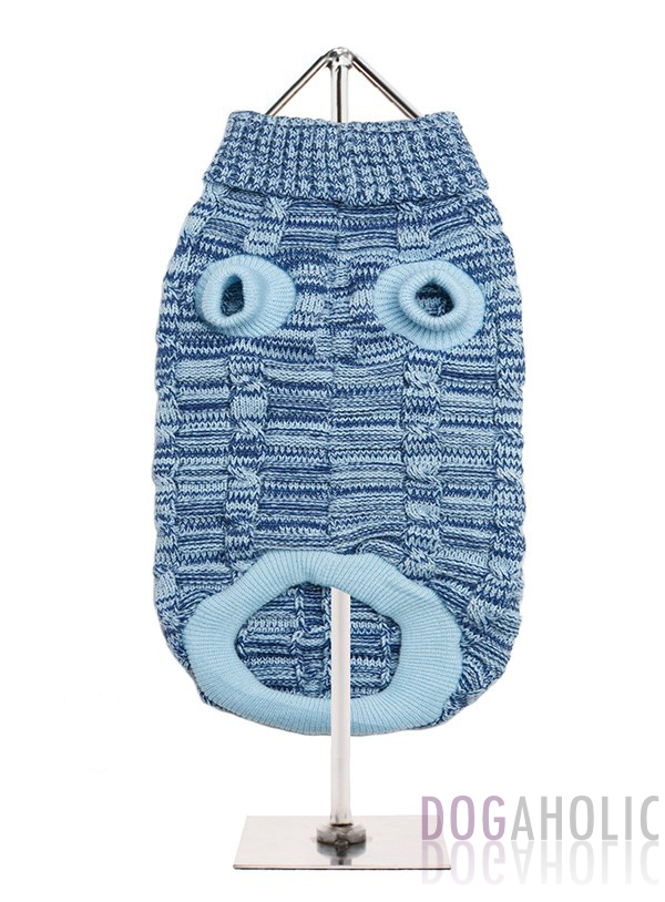 Blue Waffle Textured Knitted Sweater