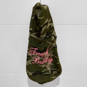 2020 Camo Hoodie Pink Text for French Bulldogs